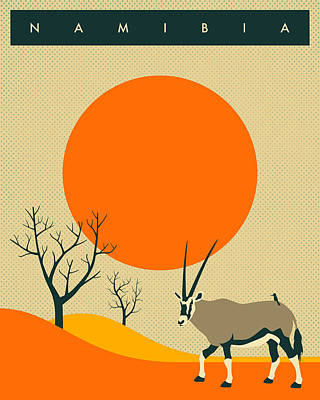 African Digital Art - Namibia Travel Poster by Jazzberry Blue