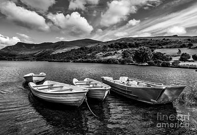 Nantlle Uchaf Boats Print by Adrian Evans
