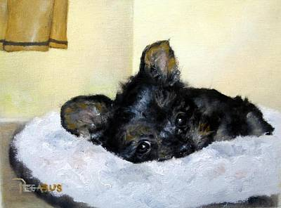 Yorkie Painting - Nap Time For Puppy by Beverly Pegasus