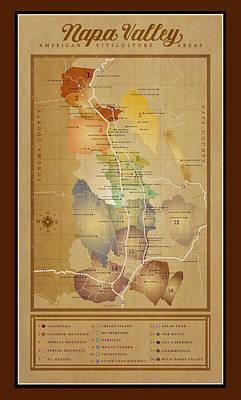 Napa Valley Digital Art - Napa Valley Ava Map by Marc Bell