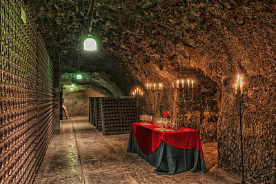 Glass Table Reflection Photograph - Napa Valley Wine Cave by Mountain Dreams