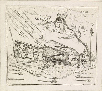 Moscow Drawing - Napoleon Crushed Under An Hexagonal Block by Hermanus Fock