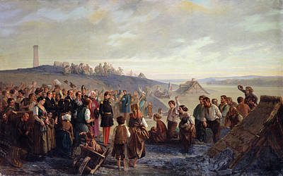 Napoleon IIi Visiting The Slate Quarries Of Angers, 1856 Oil On Canvas Print by Alexandre Antigna