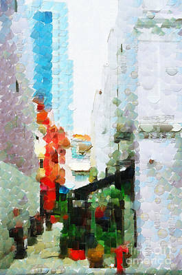 Local Attraction Painting - Narrow Street In Singapore Painting by George Fedin and Magomed Magomedagaev