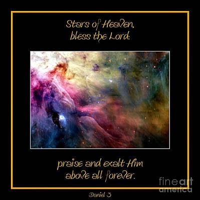 Verse Photograph - Nasa Ll Ori And The Orion Nebula Stars Of Heaven Bless The Lord by Rose Santuci-Sofranko