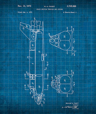 Space Ships Mixed Media - Nasa Space Shuttle Vintage Patent Diagram Blueprint by Design Turnpike