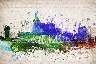 Nashville Skyline Mixed Media - Nashville In Color by Aged Pixel
