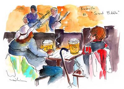 Nashville Drawing - Nashville Nights 04 by Miki De Goodaboom