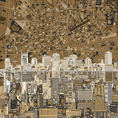 Nashville Skyline Digital Art - Nashville Skyline Abstract 2 by Bekim Art