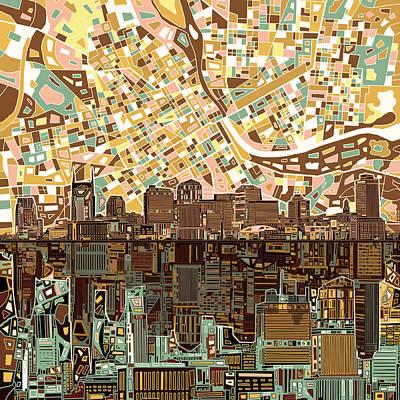 Nashville Skyline Digital Art - Nashville Skyline Abstract 4 by Bekim Art