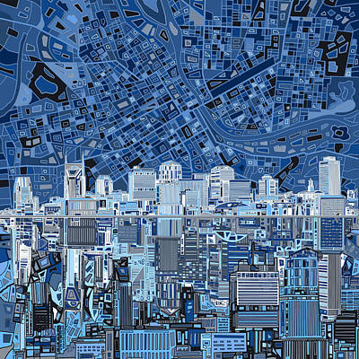 Abstract Digital Painting - Nashville Skyline Abstract by Bekim Art