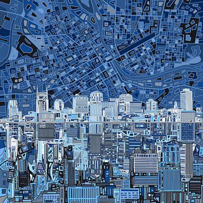 Nashville Skyline Digital Art - Nashville Skyline Abstract by Bekim Art