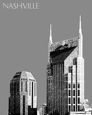 Nashville Tennessee Digital Art - Nashville Skyline At And T Batman Building - Pewter by DB Artist