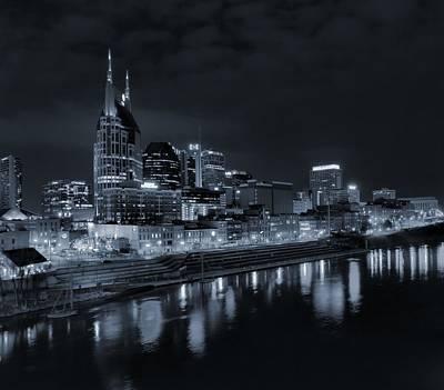 Nashville Skyline Photograph - Nashville Skyline At Night by Dan Sproul