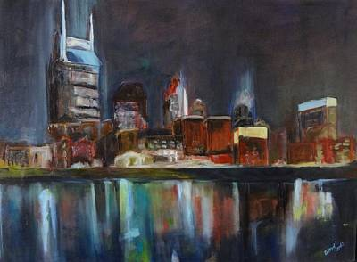 Nashville Painting - Nashville Skyline At Night by Wendi Strauch Mahoney