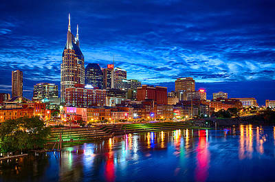 Riverfront Photograph - Nashville Skyline by Dan Holland