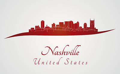 Nashville Skyline In Red Print by Pablo Romero