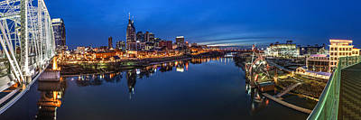 Cumberland River Photograph - Nashville Skyline Panorama At Night by Brett Engle