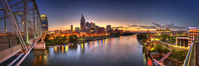 Riverfront Photograph - Nashville Skyline Panorama by Brett Engle