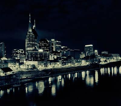 Nashville Skyline Photograph - Nashville Skyline Reflected At Night by Dan Sproul
