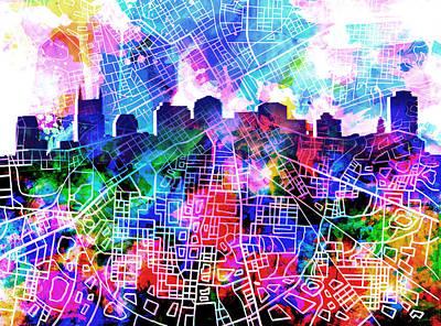 Nashville Skyline Digital Art - Nashville Skyline Watercolor 5 by Bekim Art