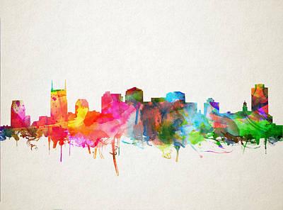 Nashville Skyline Digital Art - Nashville Skyline Watercolor 9 by Bekim Art