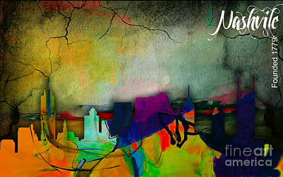 Map Mixed Media - Nashville Skyline Watercolor by Marvin Blaine