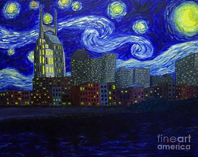 Cumberland River Painting - Dedication To Van Gogh Nashville Starry Nights by Jack Lepper