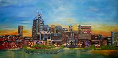 Of Nashville Skyline Painting - Nashville Tennessee by Annamarie Sidella-Felts