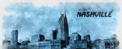 Nashville Skyline Mixed Media - Nashville Tennessee In Blue by Dan Sproul