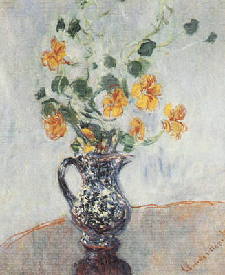 Flowers In A Vase Painting - Nasturtiums In A Blue Vase by Claude Monet