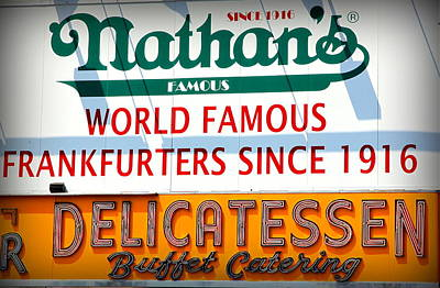 Hot Dog Stands Photograph - Nathan's Sign by Valentino Visentini