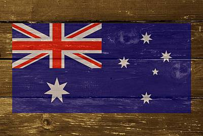 Australia National Flag On Wood Print by Movie Poster Prints
