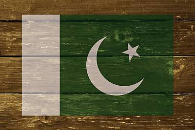 Pakistan National Flag On Wood Print by Movie Poster Prints