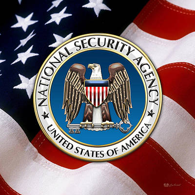 National Security Agency - N S A Emblem Emblem Over American Flag Print by Serge Averbukh