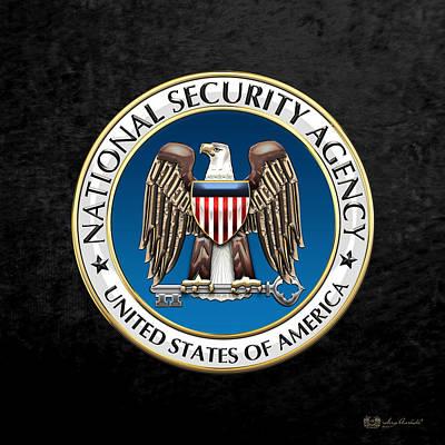 National Security Agency - N S A Emblem On Black Velvet Print by Serge Averbukh