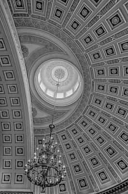 National Statuary Rotunda Bw Print by Susan Candelario