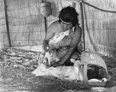Indigenous Culture Photograph - Native American Baby Cradle by Underwood Archives Onia