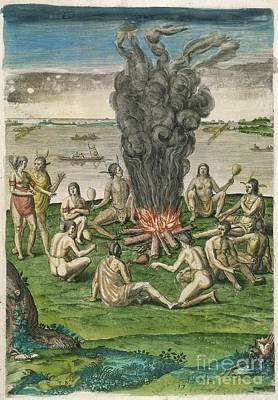 Theodor De Bry Photograph - Native American Ceremony, 16th Century by British Library