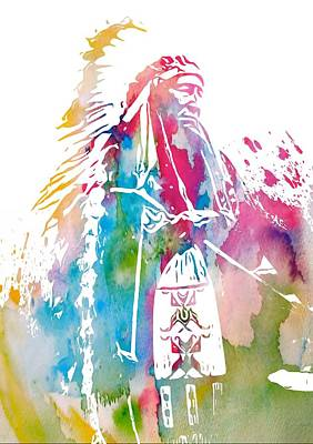 Indian Cherokee Digital Art - Native American Chief  by Dan Sproul