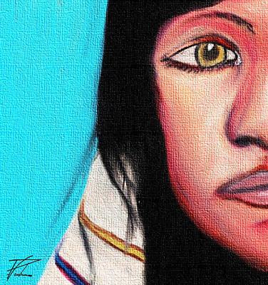 Redskins Mixed Media - Native American Girl 2 by Ayasha Loya Aka Pari  Dominic