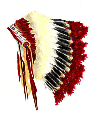 Native American Watercolor Painting - Native American Headdress by Michael Vigliotti