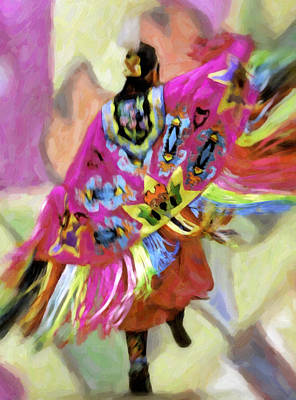Pow Wow Regalia Photograph - Native American Pow Wow Dancer Shawl by F Leblanc