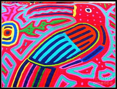 Native American Red Quilt Detail Original by Dora Sofia Caputo Photographic Art and Design