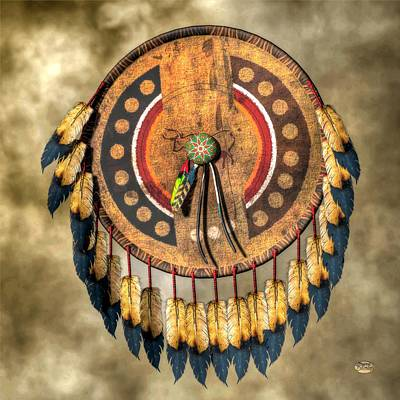 Western Themed Digital Art - Native American Shield by Daniel Eskridge