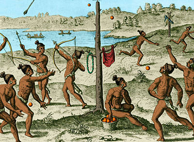Theodor De Bry Photograph - Native American Sports, C. 1500s by Science Source
