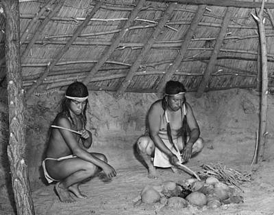 Crouched Photograph - Native American Sweat Lodge by Underwood Archives Onia