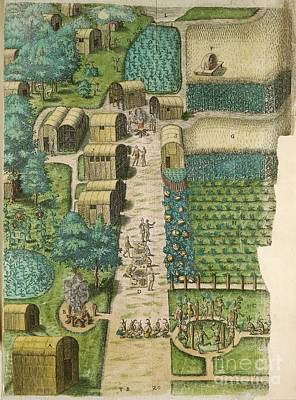 Native American Village, 16th Century Print by British Library