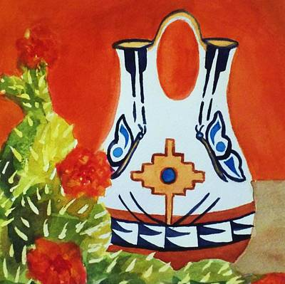 Indian Cultural Painting - Native American Wedding Vase And Cactus-square Format by Ellen Levinson