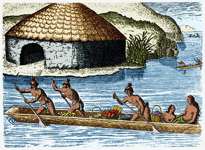 Theodor De Bry Photograph - Native Americans Transporting Crops, C by Science Source